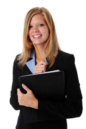 Beautiful young businesswoman smiling with folder and pencil photo