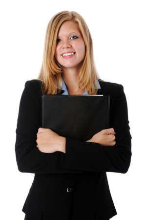 Young attractive businesswoman holding a folder photo