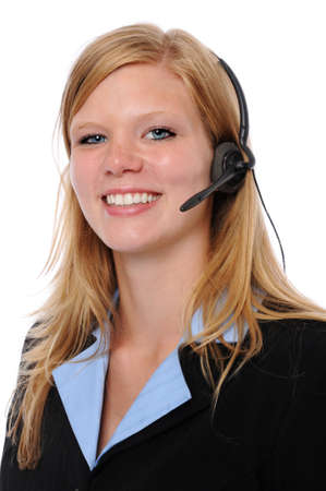 Beautiful young woman with headset photo