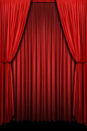Red curtain in vertical format photo