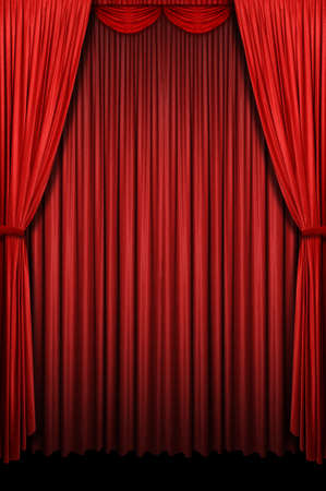 vertical: Red stage curtain with arch entrance