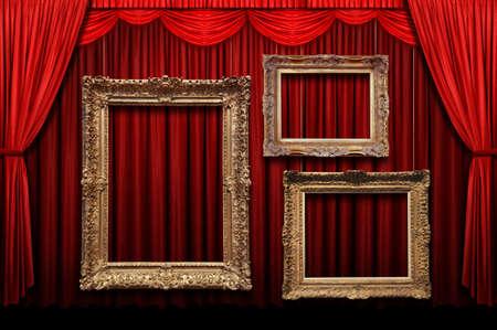 cortinas: Cortina de la etapa de rojo con marcos de oro