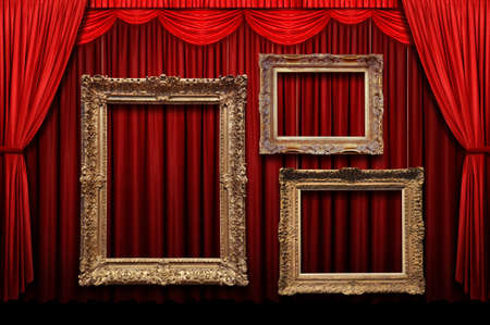 curtain theatre: Red stage curtain with gold frames Stock Photo
