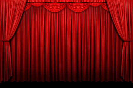 curtain background: Red stage curtain with arch entrance
