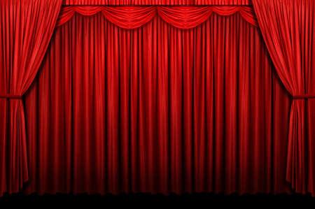 Rode podium gordijn met boog ingang Stockfoto - 7804010
