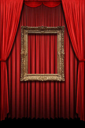 Red curtain with vintage gold frame in vertical format Фото со стока