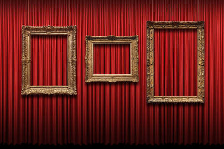 Red curtain with vintage gold frames