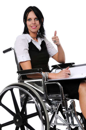 chairs: Young woman on wheelchair showing thunbs up