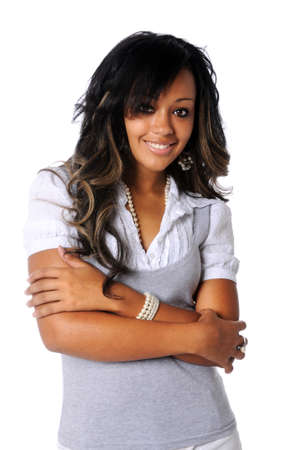 Beautiful African American woman with arms crossed Stock Photo - 7803954