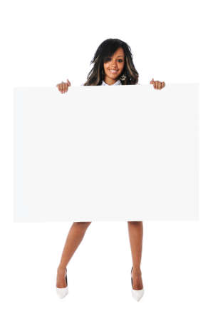 Beautiful African American woman holding sign photo