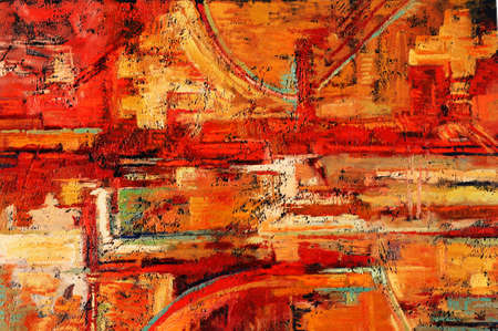 abstract paintings: Abstract oil painting in reds and yellows Stock Photo