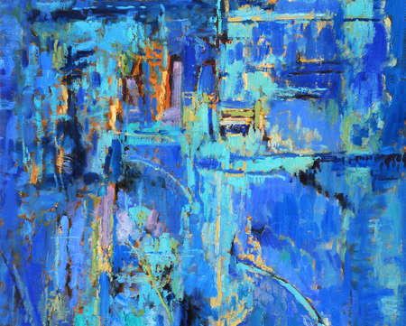 abstract paintings: Abstract oil painting with predominant blues