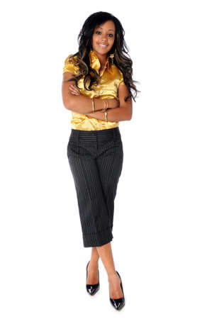 businesswoman legs: Beautiful African American woman standing