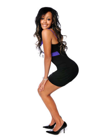 Beautiful African American woman in black dress and high heels Stock Photo - 7804248