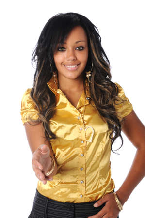 Beautiful African American woman extending hand to greet Stock Photo - 7804496