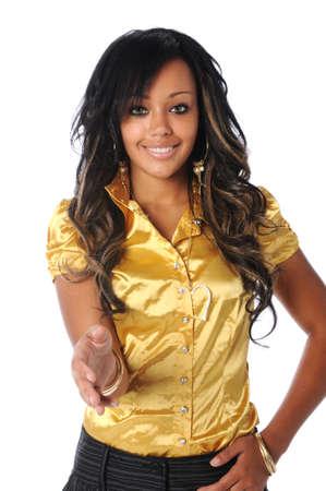 extending: Beautiful African American woman extending hand to greet