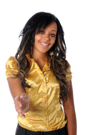 Beautiful young African american woman extending hand to greet Stock Photo - 7804491