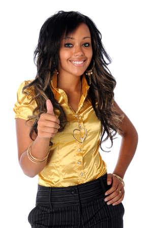 Jonge African American vrouw duimen opdagen