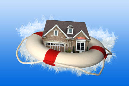house prices: House market crisis represented by house and life preserver crashing on water