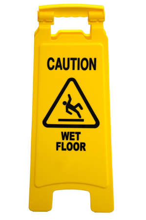Yellow floor sign with words Stock Photo - 7804326