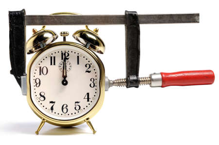 pressed: Pressed by time concept symbolized by press and time clock