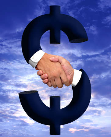 autograph: Handshake and money sign Stock Photo