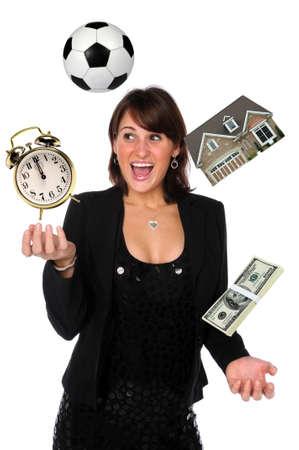 Businesswoman juggling responsabilities photo