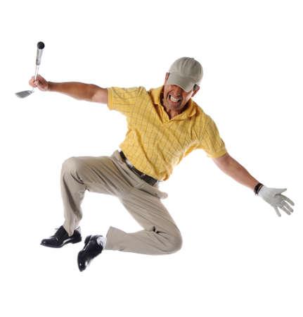 Golfspeler die hielen klikt om geïsoleerd over een witte achtergrond te vieren