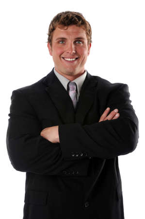 Portrait of businessman smiling with arms crossed