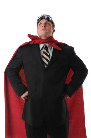 strong: Businessman hearing a cape and goggles representing a business super hero