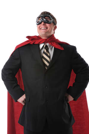 superhero cape: Businessman with red cape and goggles smiling confidently