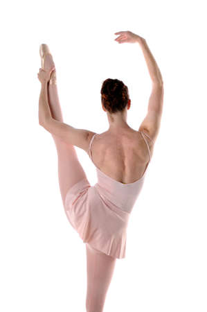 stratching: Ballerina stratching isolated over a white background Stock Photo