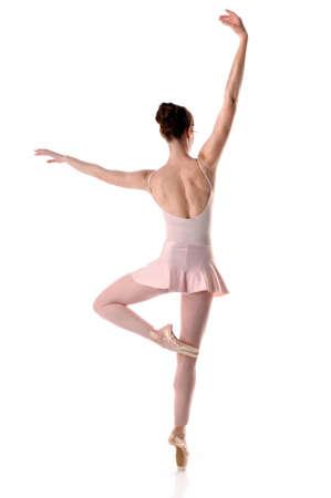 ballerina girl: Ballerina dancing - Back view isolated over white