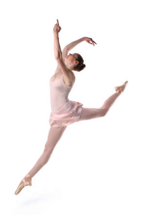 ballerina girl: Ballerina jumping isolated over a white background Stock Photo