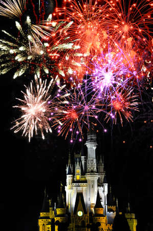 Disney World Magic Kingdom with Fireworks at night