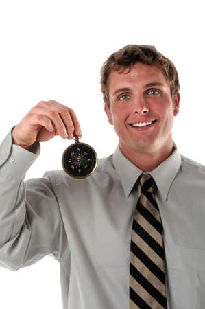 Businessman holding a compass isolated over a white background Stock Photo - 7887473