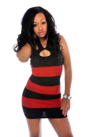 Portrait of young African american Woman posieren Standard-Bild - 7887463