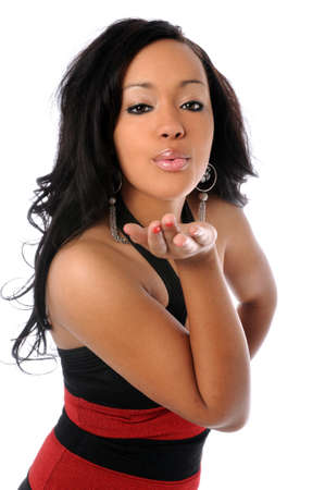 american sexy: Beautiful African American woman blowing kisses Stock Photo