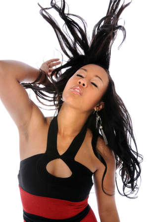 Young African American woman flipping hair photo