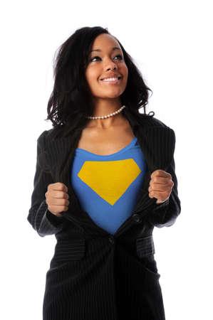 African American businesswoman dressed as super hero