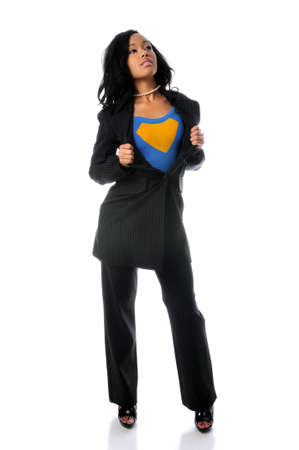 Beautiful African american woman opening jacket to reveal super hero outfit Stock Photo - 7887456