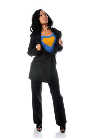 superwoman: Chaqueta de apertura de hermosa mujer africano americano para revelar el traje de superh�roe