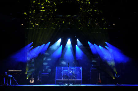 lights: Stage with lights and misucal instruments before a concert