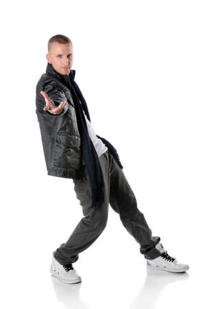 Hip hop man dancing isolated over white background Stock Photo - 7887534