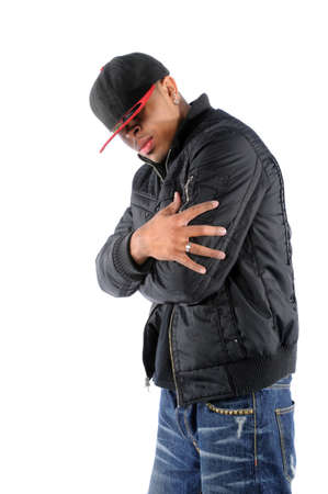 hip hop man: Young African American hip hop man posing Stock Photo