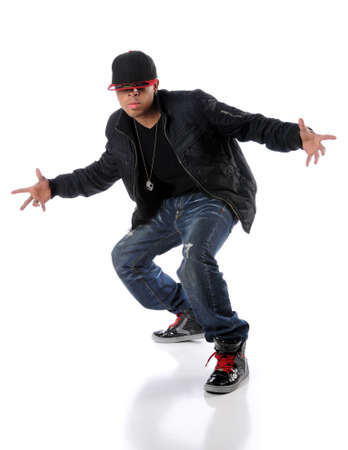 hip hop man: Trendy hip hop man performing a dance