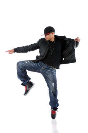 Young African American man dancing hip hop style Stock Photo - 7887545