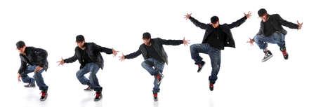 African American hip hop dancer in dance jump progression