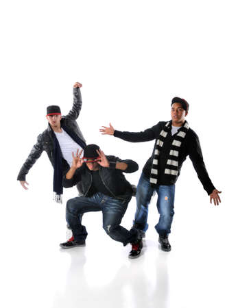 moves: Three young men dancing hip hop moves