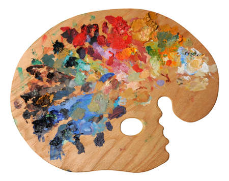 白色の背景上分離した人間工学に基づいた芸術家のパレット